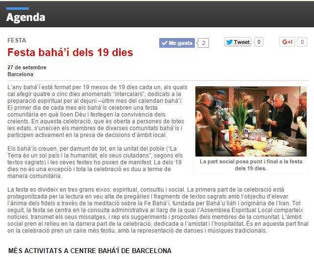 LA PÁGINA WEB DE LA REVISTA SAPIENS PUBLICA EL CALENDARIO DE ACTVIDADES BAHÁ'ÍS