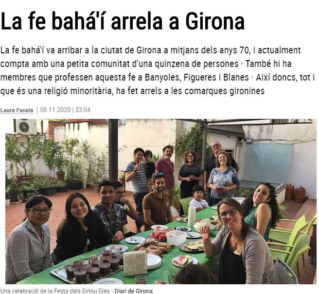 El Diari de Girona publica un artículo sobre la comunidad bahá'í de Girona